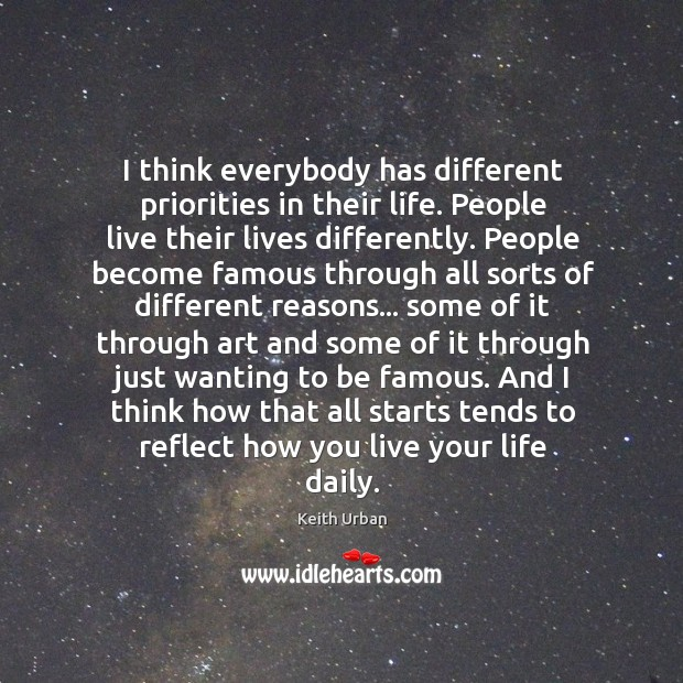 I think everybody has different priorities in their life. People live their Keith Urban Picture Quote