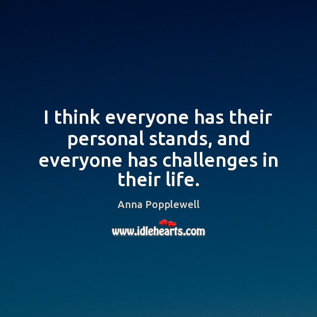 Image, I think everyone has their personal stands, and everyone has challenges in their life.