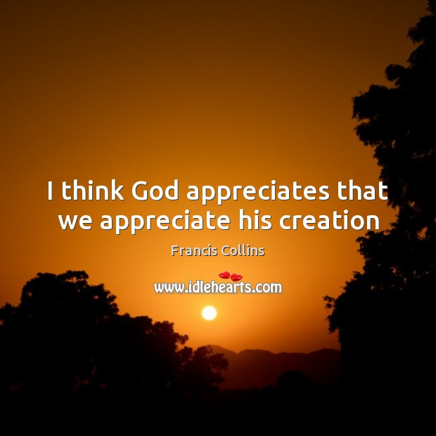 I think God appreciates that we appreciate his creation Francis Collins Picture Quote