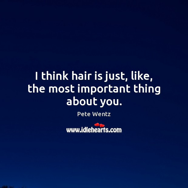Image, I think hair is just, like, the most important thing about you.