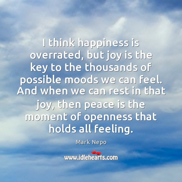 I think happiness is overrated, but joy is the key to the Mark Nepo Picture Quote