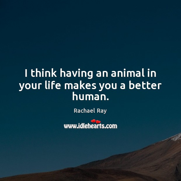 I think having an animal in your life makes you a better human. Rachael Ray Picture Quote