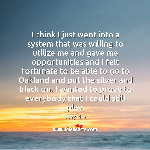 I think I just went into a system that was willing to utilize me and gave me opportunities Image