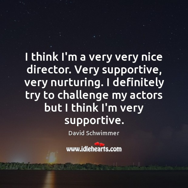 I think I'm a very very nice director. Very supportive, very nurturing. David Schwimmer Picture Quote
