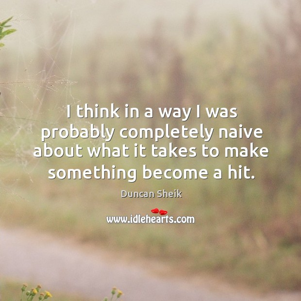 I think in a way I was probably completely naive about what it takes to make something become a hit. Duncan Sheik Picture Quote