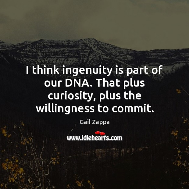 I think ingenuity is part of our DNA. That plus curiosity, plus the willingness to commit. Image