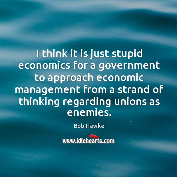 I think it is just stupid economics for a government to approach economic Image
