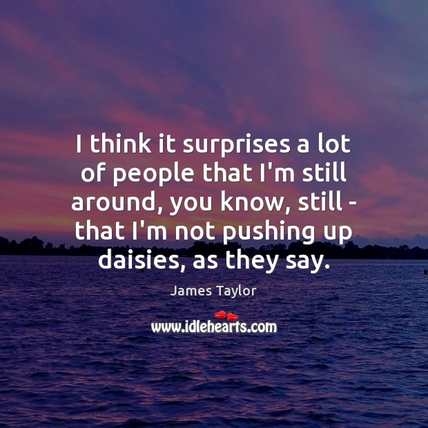 I think it surprises a lot of people that I'm still around, James Taylor Picture Quote