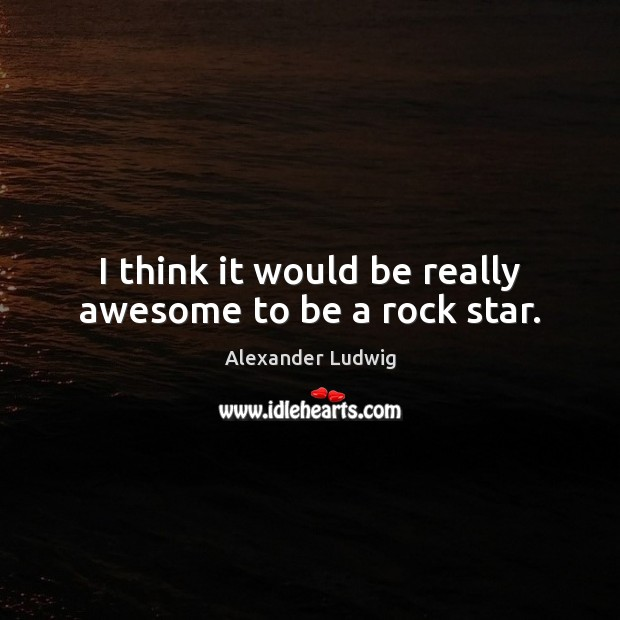 I think it would be really awesome to be a rock star. Image