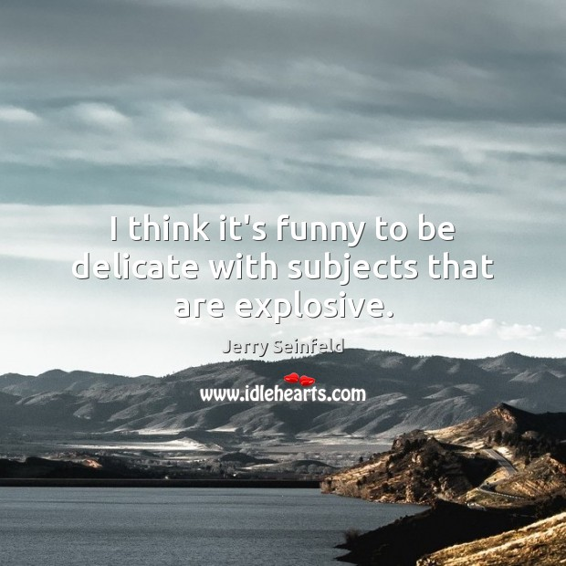 I think it's funny to be delicate with subjects that are explosive. Jerry Seinfeld Picture Quote
