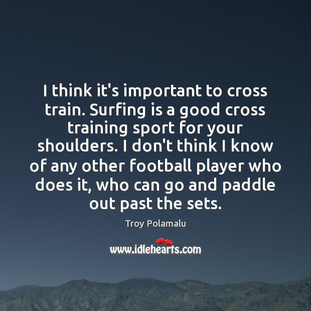 I think it's important to cross train. Surfing is a good cross Troy Polamalu Picture Quote