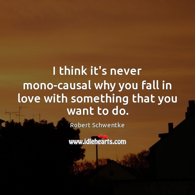 I think it's never mono-causal why you fall in love with something that you want to do. Image
