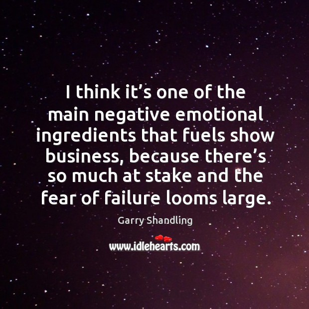 I think it's one of the main negative emotional ingredients that fuels show business, because Image