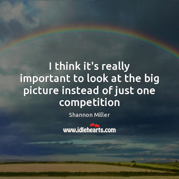 I think it's really important to look at the big picture instead of just one competition Shannon Miller Picture Quote