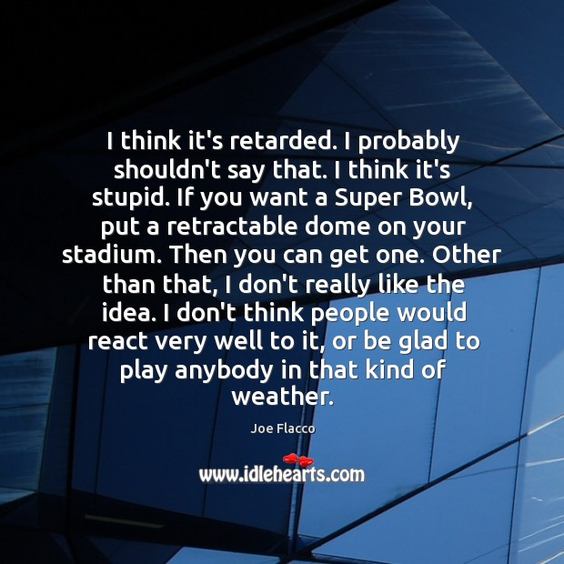 I think it's retarded. I probably shouldn't say that. I think it's Joe Flacco Picture Quote