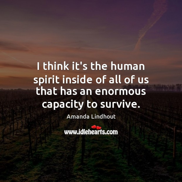 I think it's the human spirit inside of all of us that Amanda Lindhout Picture Quote