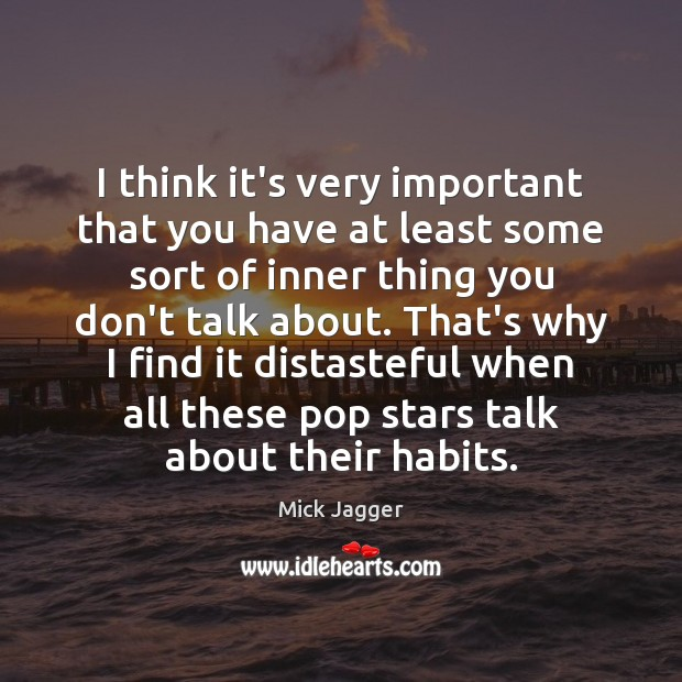 I think it's very important that you have at least some sort Mick Jagger Picture Quote