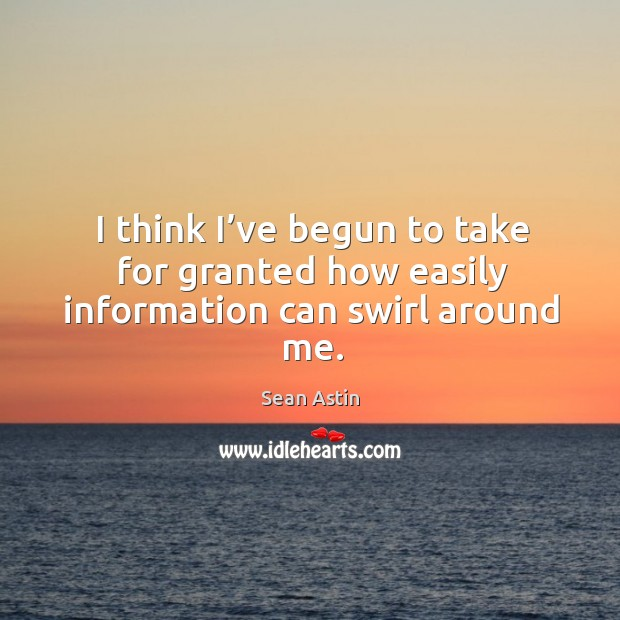 I think I've begun to take for granted how easily information can swirl around me. Image