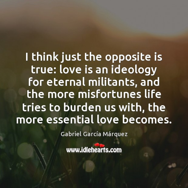 I think just the opposite is true: love is an ideology for Gabriel García Márquez Picture Quote