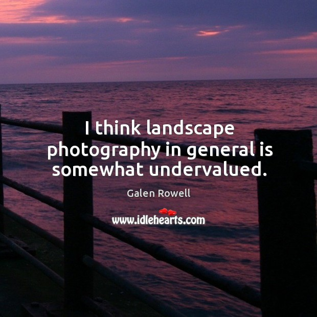 I think landscape photography in general is somewhat undervalued. Galen Rowell Picture Quote