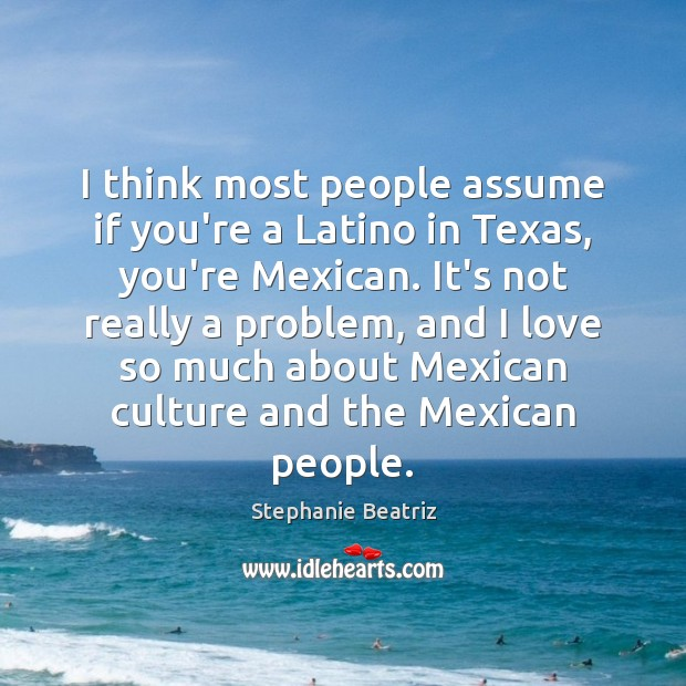 I think most people assume if you're a Latino in Texas, you're Image