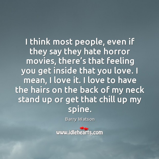 I think most people, even if they say they hate horror movies, there's that feeling you get Barry Watson Picture Quote