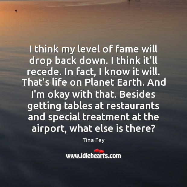 Tina Fey Picture Quote image saying: I think my level of fame will drop back down. I think