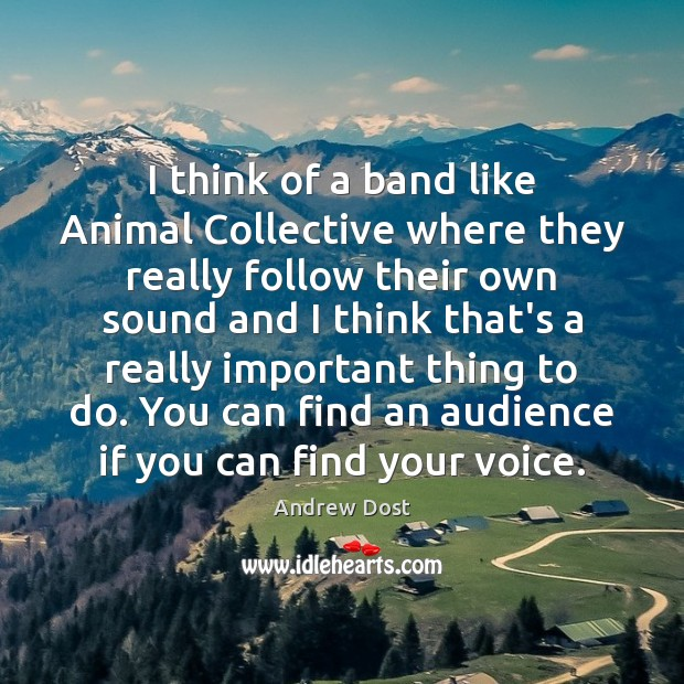 Image, I think of a band like Animal Collective where they really follow