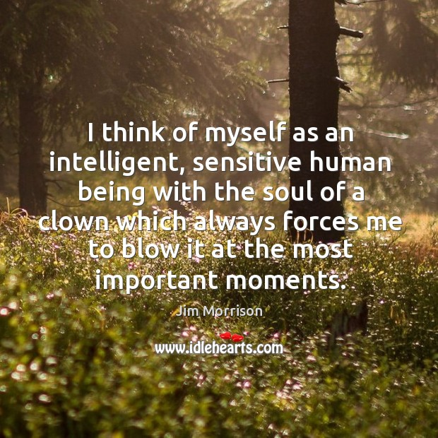 Image, I think of myself as an intelligent, sensitive human being with the soul of a clown which