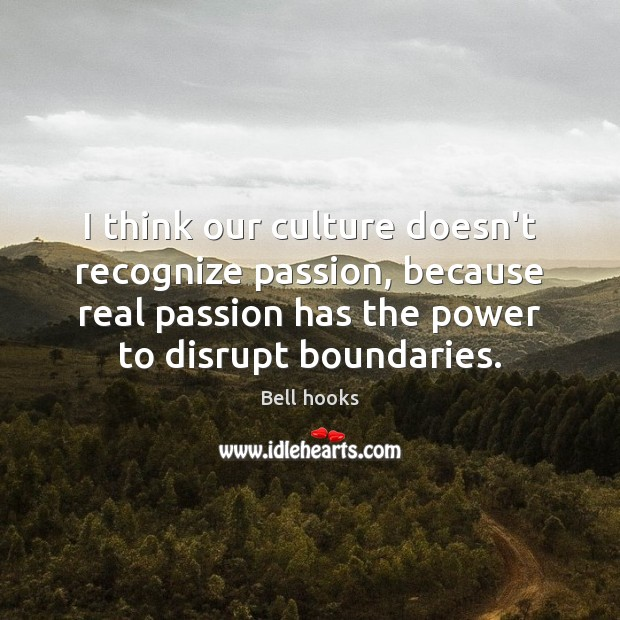 I think our culture doesn't recognize passion, because real passion has the Image