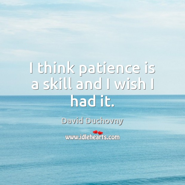 I think patience is a skill and I wish I had it. David Duchovny Picture Quote