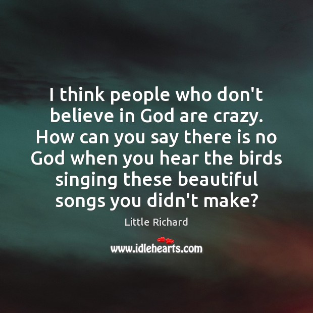I think people who don't believe in God are crazy. How can Little Richard Picture Quote