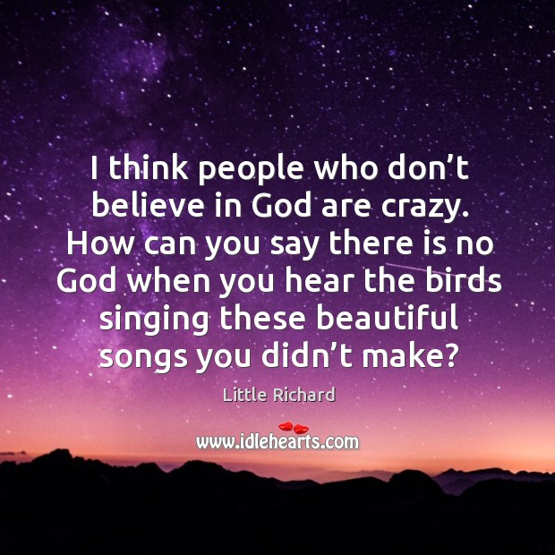 I think people who don't believe in God are crazy. How can you say there is no God when you hear Little Richard Picture Quote