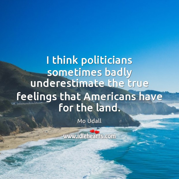 I think politicians sometimes badly underestimate the true feelings that Americans have Underestimate Quotes Image
