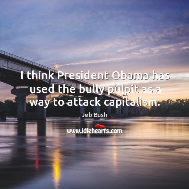 I think president obama has used the bully pulpit as a way to attack capitalism. Image
