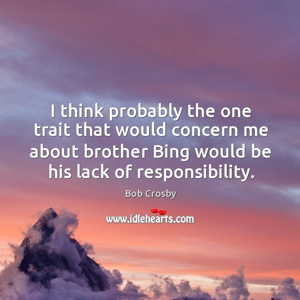 I think probably the one trait that would concern me about brother bing would be his lack of responsibility. Image