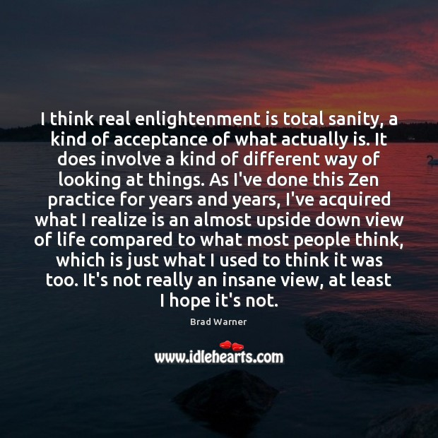 I think real enlightenment is total sanity, a kind of acceptance of Brad Warner Picture Quote