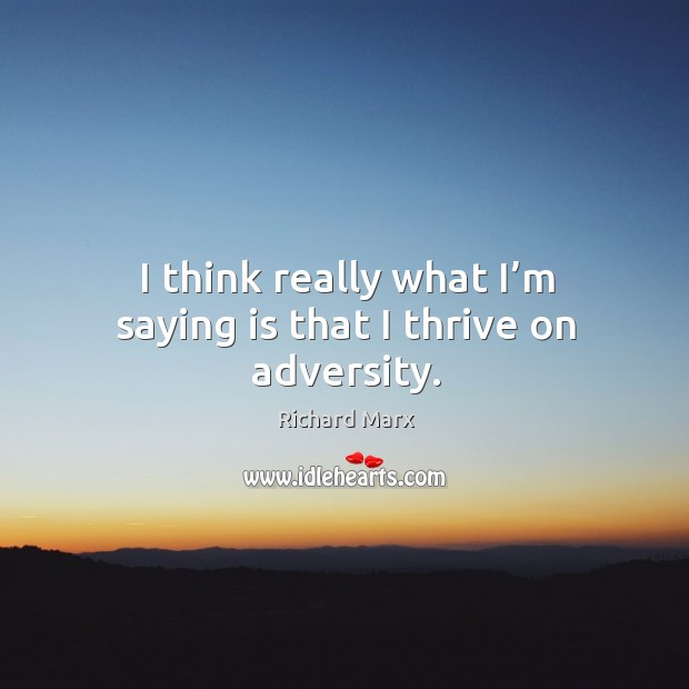 I think really what I'm saying is that I thrive on adversity. Image