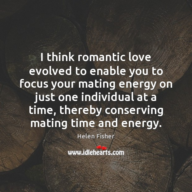 I think romantic love evolved to enable you to focus your mating Romantic Love Quotes Image