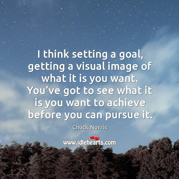 Image, I think setting a goal, getting a visual image of what it is you want.