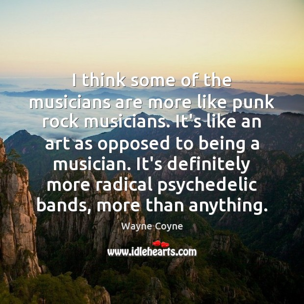 I think some of the musicians are more like punk rock musicians. Wayne Coyne Picture Quote