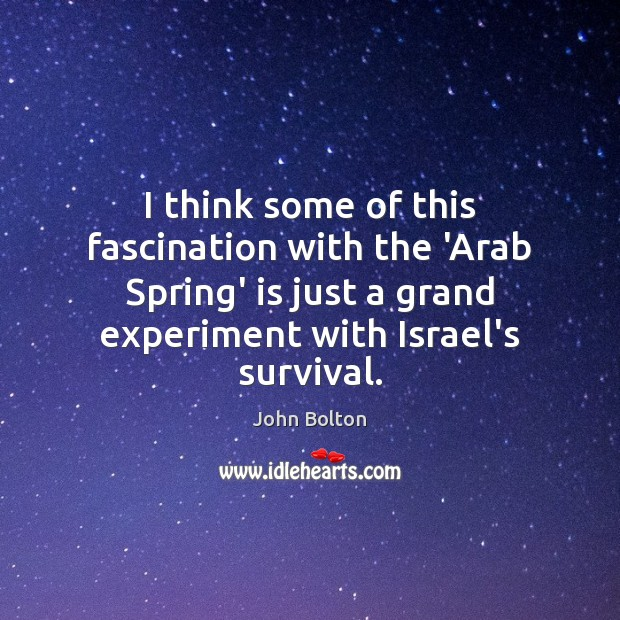 I think some of this fascination with the 'Arab Spring' is just John Bolton Picture Quote