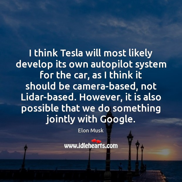 Image, I think Tesla will most likely develop its own autopilot system for