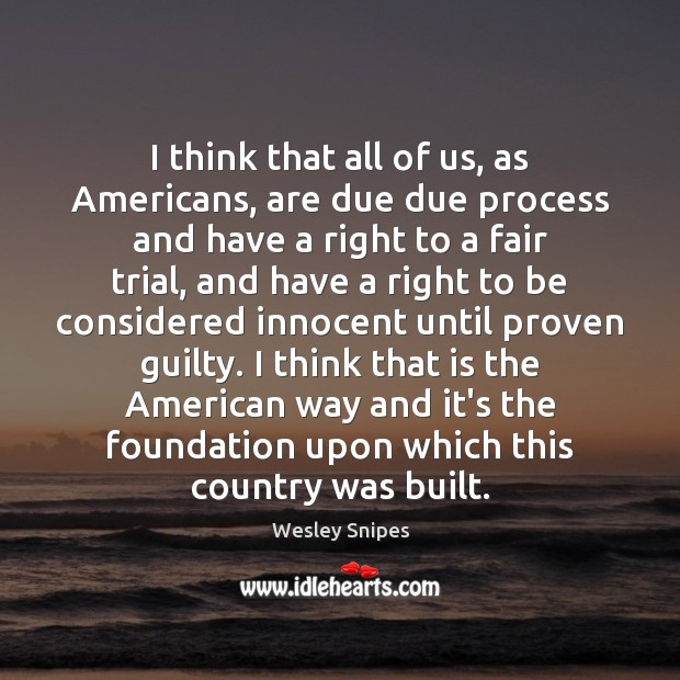I think that all of us, as Americans, are due due process Wesley Snipes Picture Quote