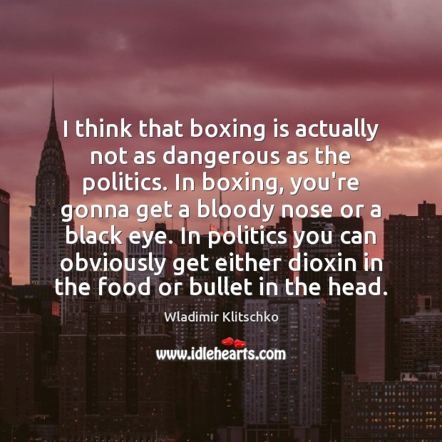 I think that boxing is actually not as dangerous as the politics. Politics Quotes Image