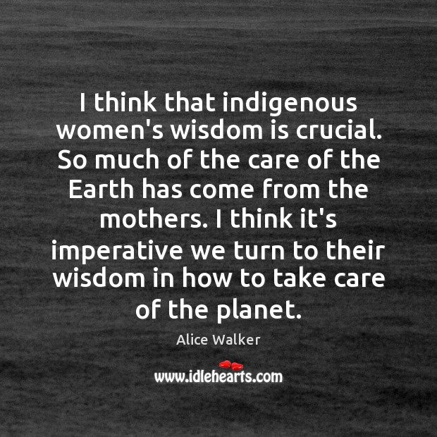 Image, I think that indigenous women's wisdom is crucial. So much of the
