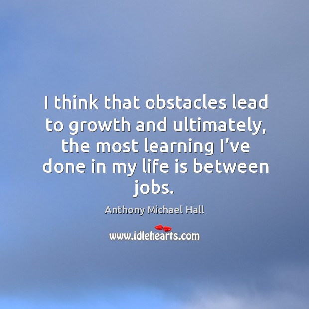 I think that obstacles lead to growth and ultimately, the most learning Image