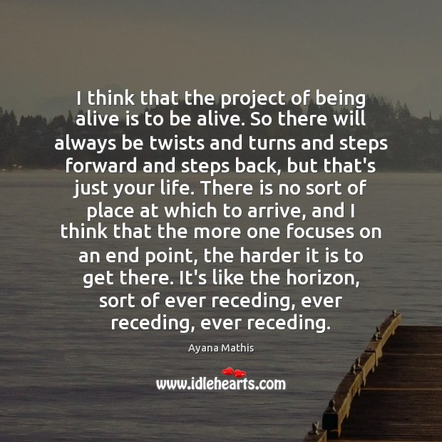I think that the project of being alive is to be alive. Image