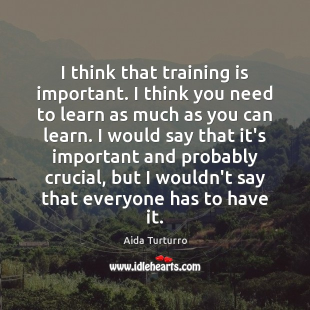 I think that training is important. I think you need to learn Aida Turturro Picture Quote