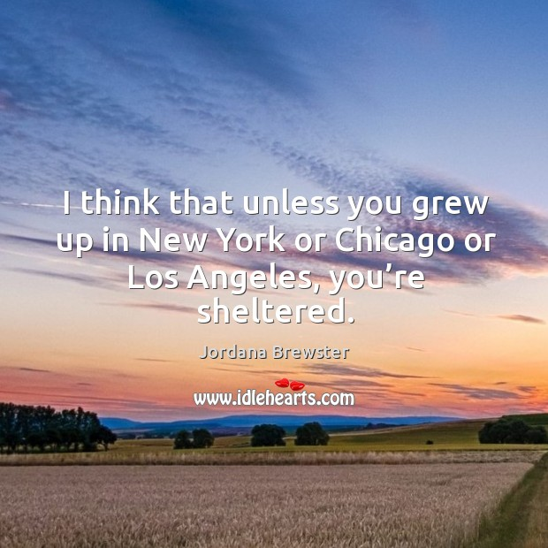 I think that unless you grew up in new york or chicago or los angeles, you're sheltered. Image
